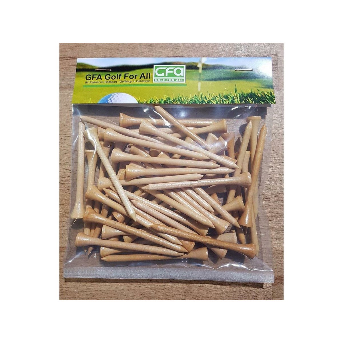 Golf-for-all - Natur Holz Tees 50 Stück 2 1/8-54 mm Lang - Golftee - Wood - Tee