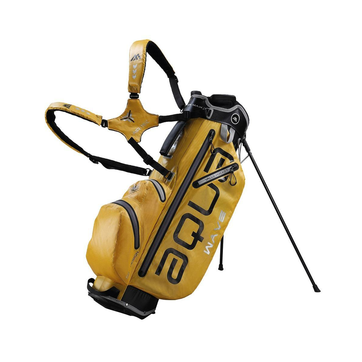 BIG MAX AQUA WAVE Golf Standbag - Ultraleicht - 100% Wasserdicht (Yellow/Black/Silver)